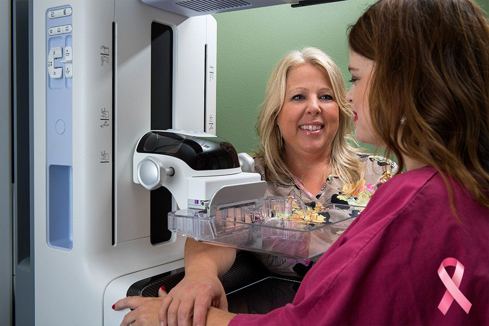 Nurse assistant woman with breast scan